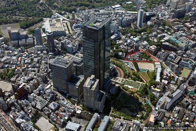 赤坂九丁目北地区と東京ミッドタウンの空撮