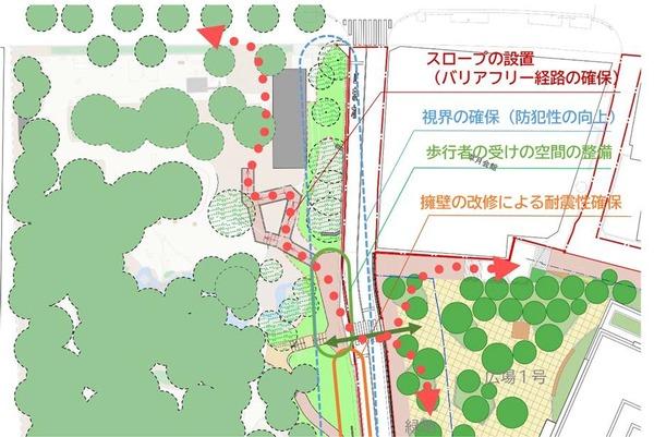 (仮称)赤坂七丁目2番地区再開発事業 高橋是清翁記念公園の整備による歩行者動線の整備イメージ
