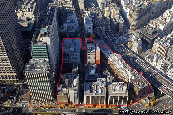日本橋一丁目中地区第一種市街地再開発事業の計画地の空撮