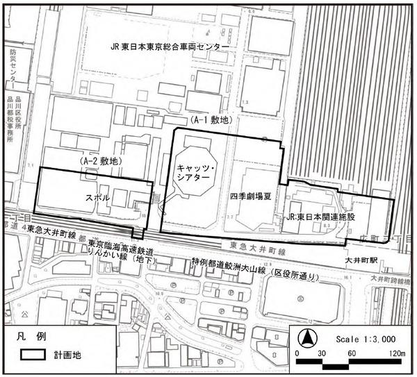 大井町駅周辺広町地区開発 計画地現況図