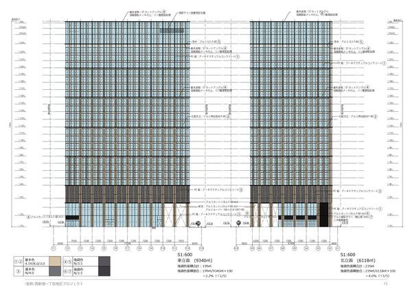 (仮称)西新宿一丁目地区プロジェクト 東立面図・北立面図