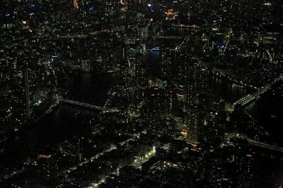 月島・佃のタワーマンション群の空撮夜景