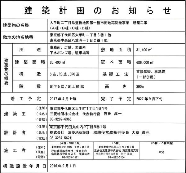 東京駅前常盤橋プロジェクト 建築計画のお知らせ