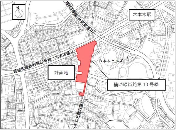 西麻布三丁目北東地区第一種市街地再開発事業 位置図