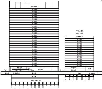 川崎駅西口開発計画 計画建物断面図