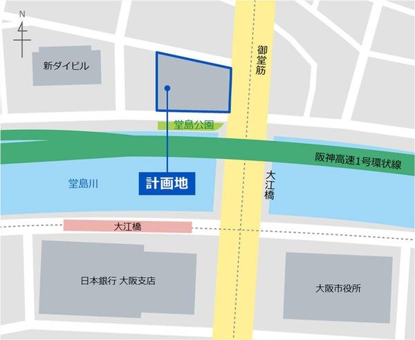 (仮称)大阪三菱ビル建替え計画 狭域図