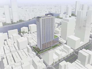 月島一丁目西仲通り地区第一種市街地再開発事業 完成予想図