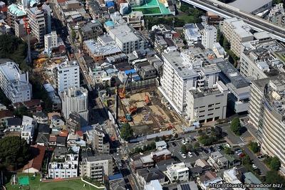 新北里本館の建設地の空撮