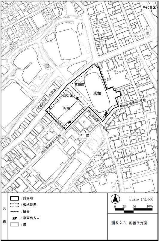 (仮称)赤坂二・六丁目地区開発計画 配置予定図