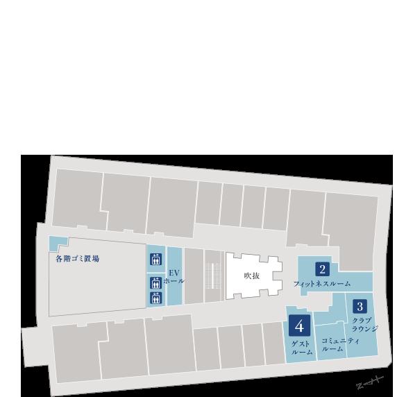 ブランズタワー大船 5階平面図