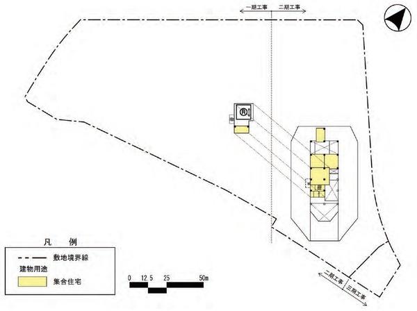 東金町一丁目西地区市街地再開発事業 建物平面図(屋上階)