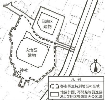 虎ノ門三・四丁目地区の配置図