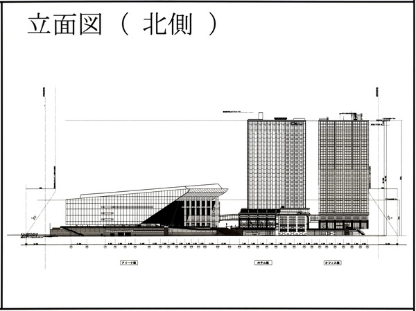 Kアリーナプロジェクト 都市景観形成行為のお知らせ 立面図(北側)