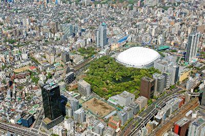 空撮 小石川後楽園・東京ドーム周辺
