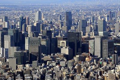 東京スカイツリーから見た丸の内・大手町の超高層ビル群