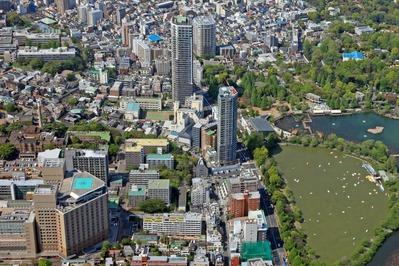 空撮 上野公園横のタワーマンション