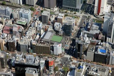 飛行船から歌舞伎座の空撮