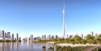 ドバイで計画されている世界一のタワーの完成予想図