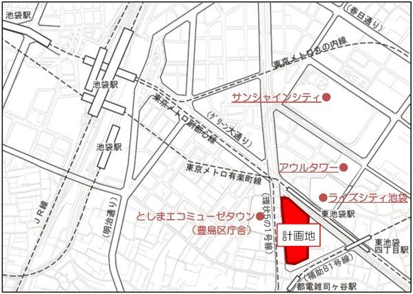 南池袋二丁目C地区第一種市街地再開発事業 位置図