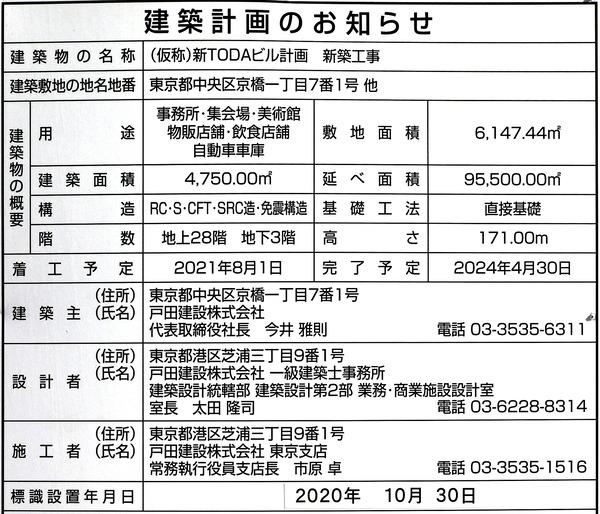 (仮称)新TODAビル計画 新築工事 建築計画のお知らせ
