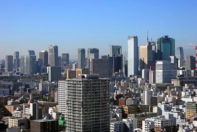 リバーシティ21新川から汐留・新橋方面の超高層ビル群