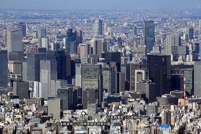東京スカイツリーから見た日本橋方面の超高層ビル群