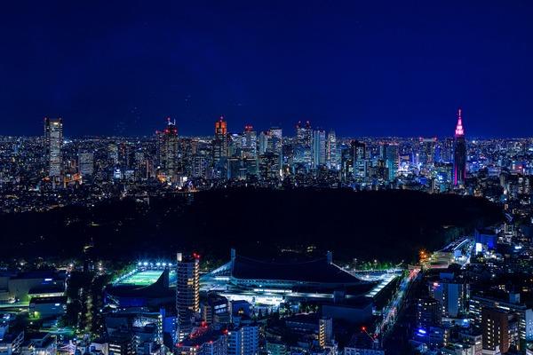 渋谷スカイから新宿方面の夜景