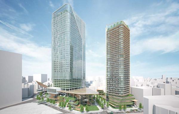 (仮称)渋谷二丁目西地区第一種市街地再開発事業 南側(六本木通り側)から見た計画地