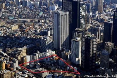 西新宿五丁目北地区の空撮