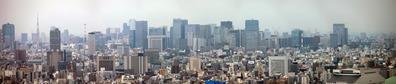 ブリリアタワー東京から東京駅方面のパノラマ
