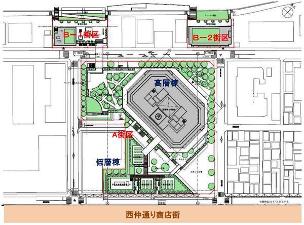月島三丁目北地区第一種市街地再開発事業 配置図