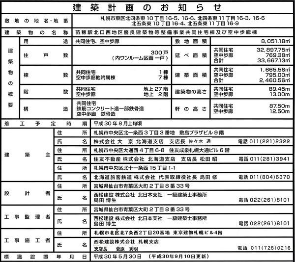 ザ・グランアルト札幌 苗穂ステーションタワー 建築計画のお知らせ