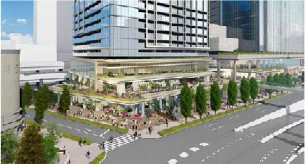日本橋一丁目東地区第一種市街地再開発事業 交差点部の広場イメージ