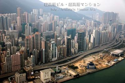 空撮 香港の超高層ビル群
