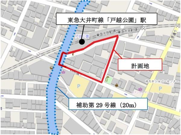 戸越五丁目19番地区第一種市街地再開発事業 狭域図