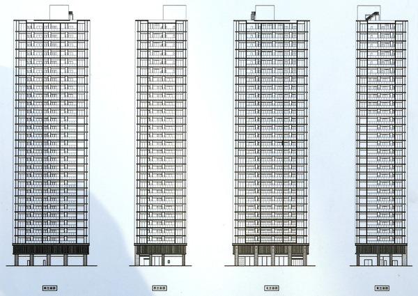 シエリア大阪上町台パークタワー 立面図