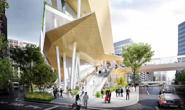 (仮称)渋谷二丁目西地区第一種市街地再開発事業 青山通り南側から見たA街区サブアーバン・コア