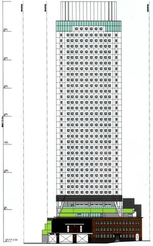 アパホテル&リゾート〈横浜ベイタワー〉 立面図(東側)