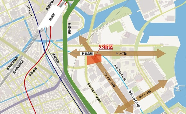 (仮称)みなとみらい21中央地区53街区開発事業 位置図