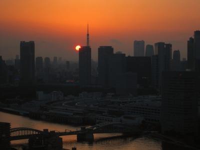 月島から東京タワー方面の夕景