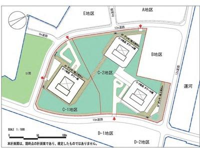 (仮称)東高島駅北地区 C地区棟計画の配置図