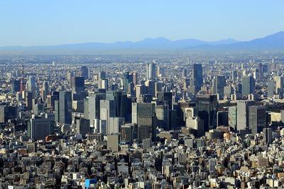 東京スカイツリーから見た大手町・丸の内の超高層ビル群