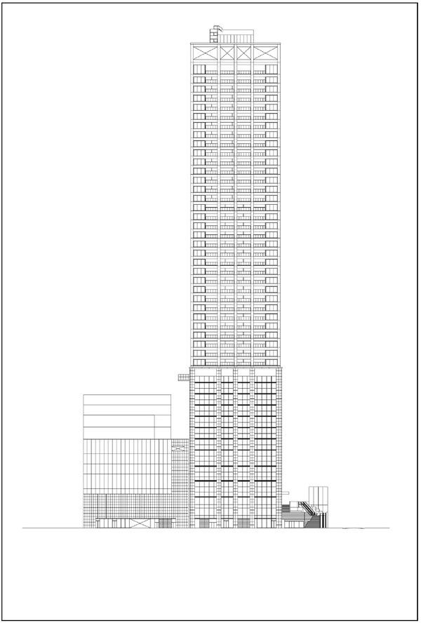 浜松町二丁目地区第一種市街地再開発事業 立面図(西側立面)