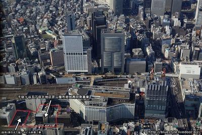千駄ヶ谷五丁目北地区第一種市街地再開発事業の建設地の空撮