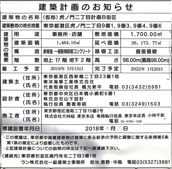 (仮称)虎ノ門二丁目計画B街区 建築計画