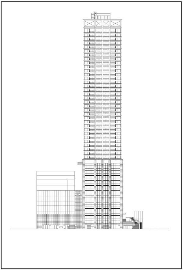 浜松町二丁目地区第一種市街地再開発事業 西側立面図