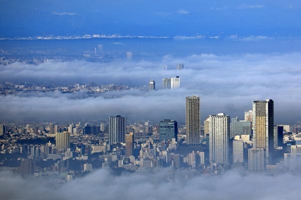 東京スカイツリーから見た雲海と池袋