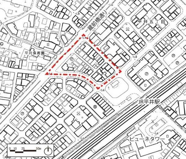 平井五丁目駅前地区第一種市街地再開発事業 区域図