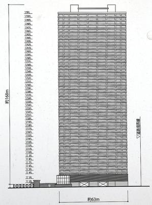 (仮称)大阪市北区豊崎三丁目新築工事計画 南立面図