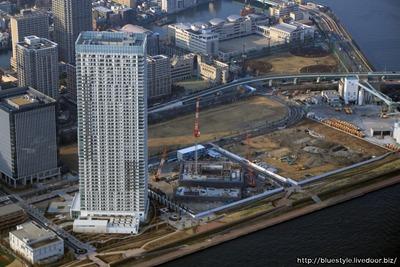 ザ・パークハウス晴海タワーズと(仮称)中央区晴海二丁目計画の空撮